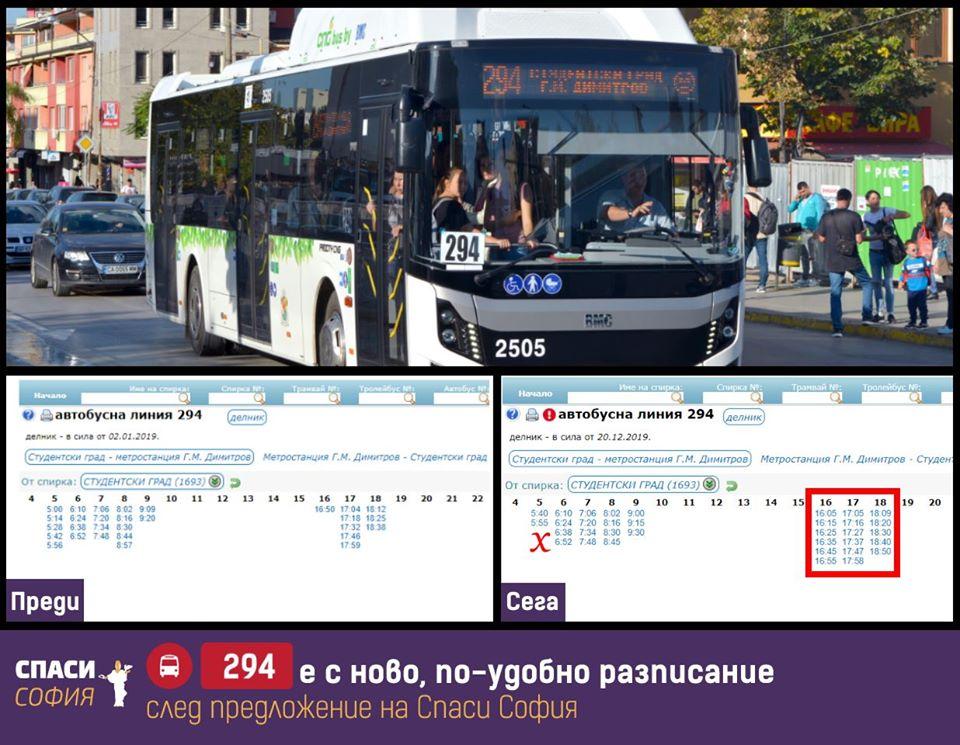 След предложение на Спаси София автобус 294 с обновено разписание